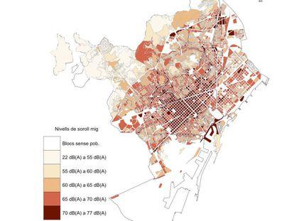 Mapa del ruido en Barcelona.