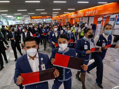 Trabajadores de la aerolínea Interjet en una protesta el viernes pasado en Guadalajara.