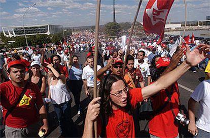 Manifestación de afiliados al PT brasileño.