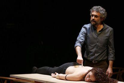 Ensayo de la obra 'La respiración', en el teatro de la Abadia de Madrid.