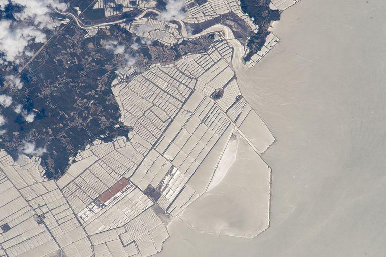 Las parcelas blanquecinas vistas desde el satélite no son invernaderos, ni bancos de arena. Son granjas de peces en el mar Amarillo, en la costa china.