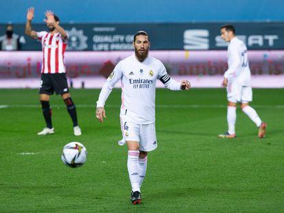 Sergio Ramos, en la semifinal de la Supercopa de España contra el Athletic el 14 de enero en Málaga.