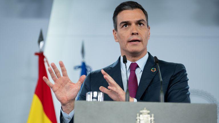 El presidente del Gobierno, Pedro Sánchez, durante su comparecencia en La Moncloa el pasado domingo.