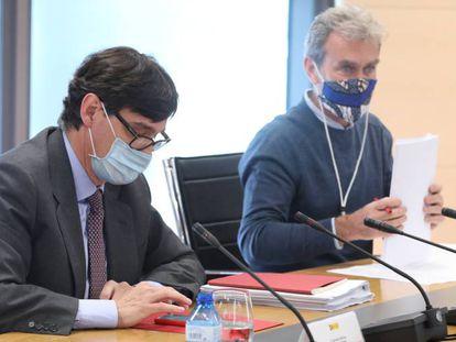 El ministro de Sanidad, Salvador Illa, y el director del Centro de Coordinación de Alertas y Emergencias Sanitarias, Fernando Simón, este martes.