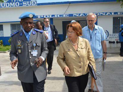 La jefa de la Minustah, Sandra Honoré,  en Haití.