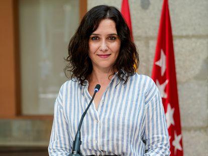 Isabel Díaz Ayuso, en una rueda de prensa el 12 de mayo de 2021, en Madrid.