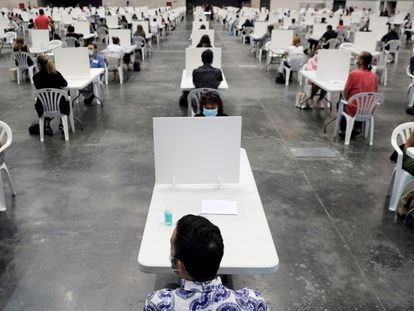 Oposiciones celebradas en Valencia, en septiembre de 2020.