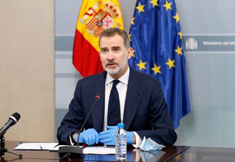 El Rey presidente por videoconferencia la reunión del Centro de Coordinación Operativo de las Fuerzas y Cuerpos de Seguridad (CECOR-COVID19).