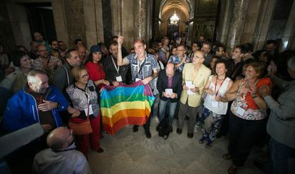 Celebración de la aprobación de la ley catalana contra la homofobia el pasado 24 de octubre.