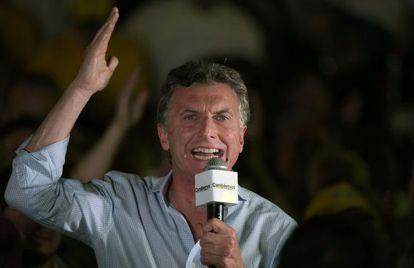 El candidato Mauricio Macri, durante su cierre de campaña.