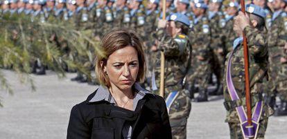 Carme Chacón, en una imagen de 2010, a la base Miguel de Cervantes, en Marjayún (Líbano).