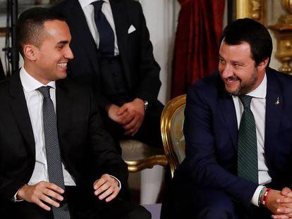 Luigi Di Maio y Matteo Salvini este viernes en el Quirinal.