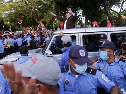 Daniel Ortega al llegar a la Plaza de la Revolución, en Managua, el pasado 19 de julio.