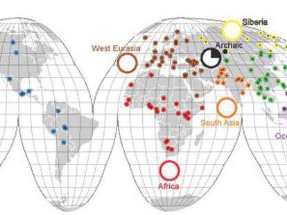 Mapa de las poblaciones analizadas en el estudio.