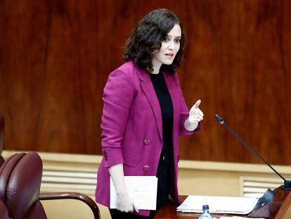 La presidenta de la Comunidad de Madrid, Isabel Díaz Ayuso, durante la sesión de control al ejecutivo regional en la Asamblea de Madrid este jueves.