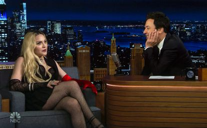 Madonna during her talk with Jimmy Fallon on NBC's 'Tonight Show'.