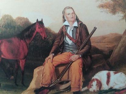 Retrato de Audubon con su caballo y su perra 'Dash' realizado por sus dos hijos.