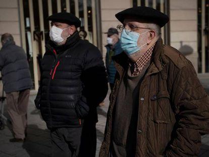 Pensionistas navarros en una manifestación en Pamplona, en enero.