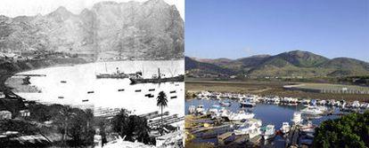 La bahía de Portmán, a principios del siglo XX, cuando era un gran puerto minero, y en la actualidad, desde el ángulo contrario.