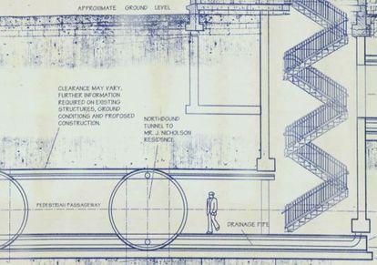 Detalle del plano en el que se puede leer que el pasadizo dirigía a la casa del actor Jack Nicholson.