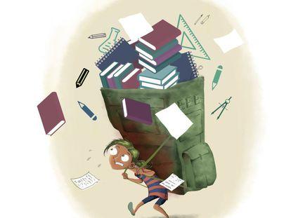 Cada vez más niños cargan con una pesada 'mochila' de deberes.