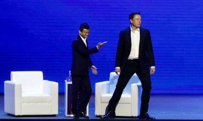 Jack Ma y Elon Musk, el 29 de agosto en el 2019 World Artificial Intelligence Conference (WAIC) en Shanghai.