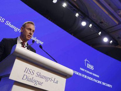 El secretario de Defensa de EE UU, Patrick Shanahan, durante un discurso en el foro celebrado en Singapur este sábado.