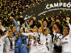 Buenos Aires (Argentina), 21/03/2021.- Players of Ferroviaria celebrate after winning the Women's Copa Libertadores final soccer match against America in Buenos Aires, Argentina, 21 March 2021. EFE/EPA/AGUSTIN MARCARIAN / POOL