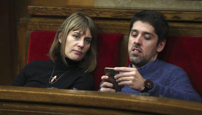 Jéssica Albiach y David Cid, diputados de Catalunya en Comú en el Parlament.