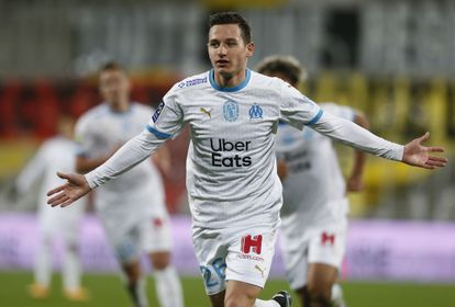 Florian Thauvin celebrates one of his goals with Olympique de Marseille, on February 3.