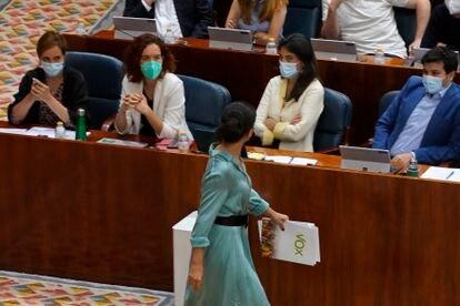 Rocío Monasterio durante el debate de investidura en la Asamblea en Madrid.