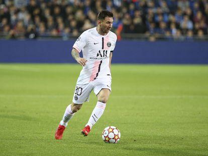 Messi, durante el partido del PSG ante el Brujas en la Champions.