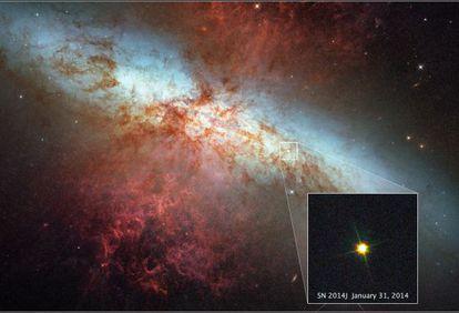 La supernova SN 2014J fotografiada por el telecopio 'Hubble' el pasado 31 de enero y ampliada sobre la imagen-mosaico de la galaxia M82 que captó el mismo observatorio espacial en 2006.