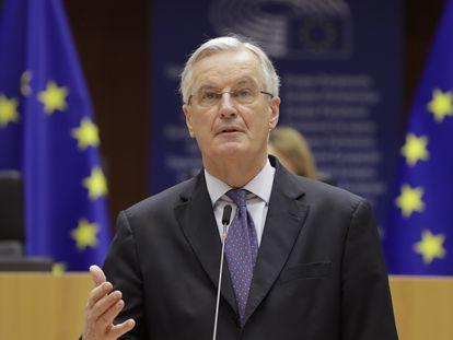 El negociador jefe europeo para el Brexit, Michel Barnier, este viernes en el Parlamento Europeo.