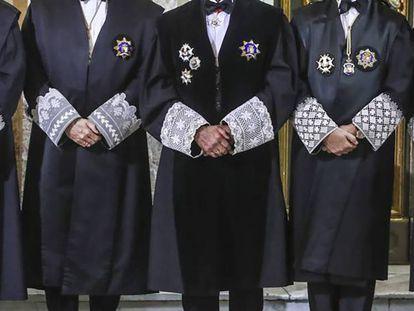 Jueces del Supremo en el acto de apertura del año judicial, el pasado 10 de septiembre. En vídeo, la sentencia de las hipotecas muestran la profunda fractura del Supremo.