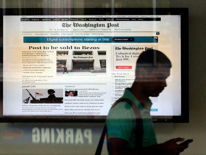 Anuncio en la redacción del 'Post' en Washington.