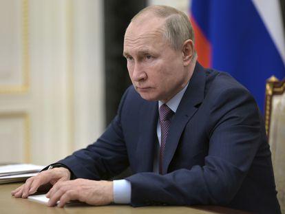 El presidente ruso, Vladímir Putin, en una teleconferencia en Moscú el pasado viernes.