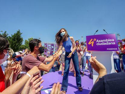 La nueva líder de Podemos, Ione Belarra, tras ser elegida como secretaria general del partido.