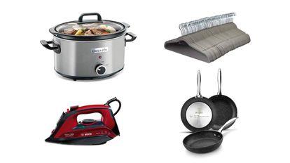 De izquierda a derecha y de arriba abajo: olla de cocción lenta Crock-Pot, lote de 100 perchas de terciopelo, plancha de vapor Bosch y 'pack' de sartenes de aluminio forjado.