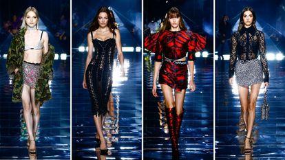 Cuatro modelos de la feria Dolce & Gabbana, el 25 de septiembre de 2021 en Milán.