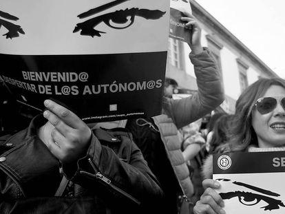 Manifestación de autónomos en Vigo el pasado 15 de febrero.
