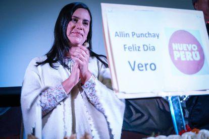 Verónika Mendoza, del Movimiento Nuevo Perú, el sábado.