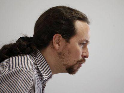 Pablo Iglesias, en la sede de Podemos.