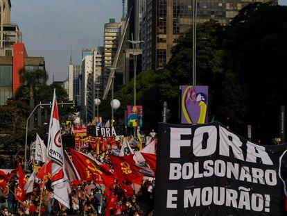 Una protesta contra el presidente de Brasil, Jair Bolsonaro, el pasado 3 de julio en Brasilia.