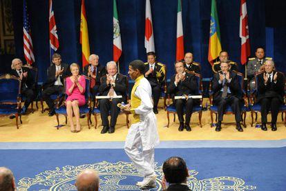 Hail Gebrselasie tras recibir el Premio Príncipe de Asturias.