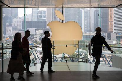 Vista de una tienda de Apple en Hong Kong.