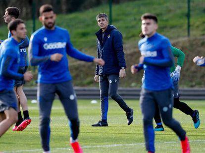 Alguacil, en un entrenamiento de la Real Sociedad.