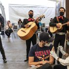 Musician Chava Elisalitori, originally from Mexico City, is vaccinated at the Mexican Consulate in Los Angeles, USA.