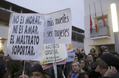 Concentración con la violencia machista el pasado lunes en Rivas.
