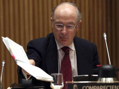 El exvicepresidente del Gobierno Rodrigo Rato, durante una comparecencia en el Congreso de los Diputados el 9 de enero de 2018.